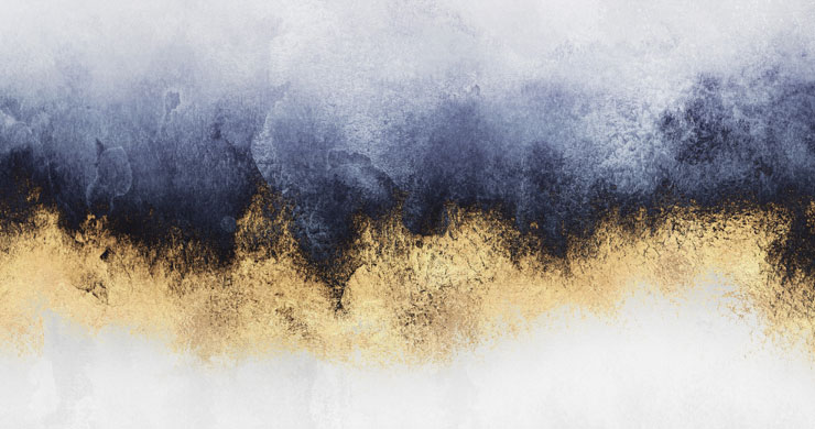 Raw Blue and Metallic Gold Wallpaper