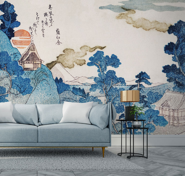 oriental navy and ochre mural in stylish lounge