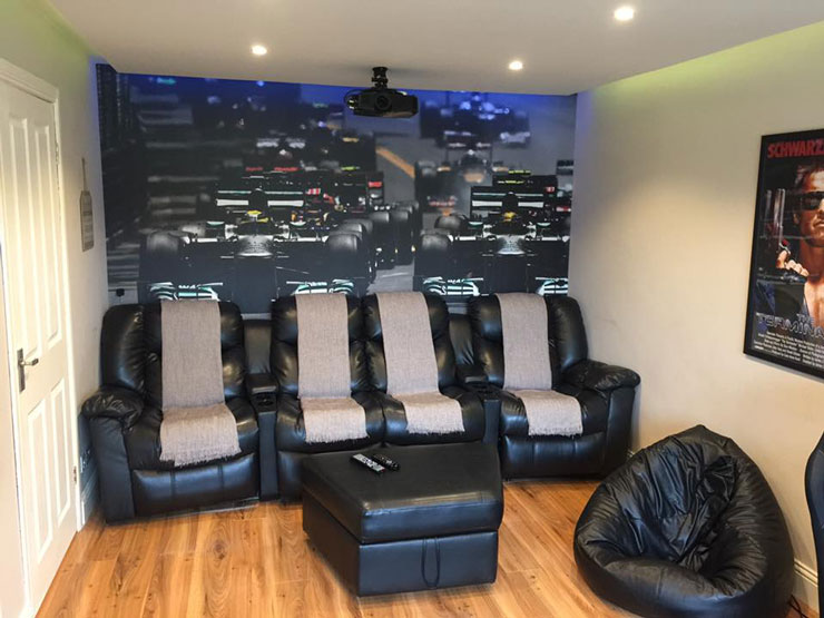 grand prix feature wall in leather decor man cave