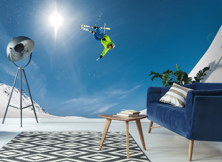 skier flying stunt wallpaper in trendy living room