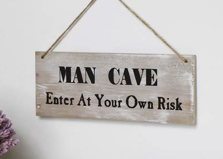 man cave enter at your own risk wooden sign
