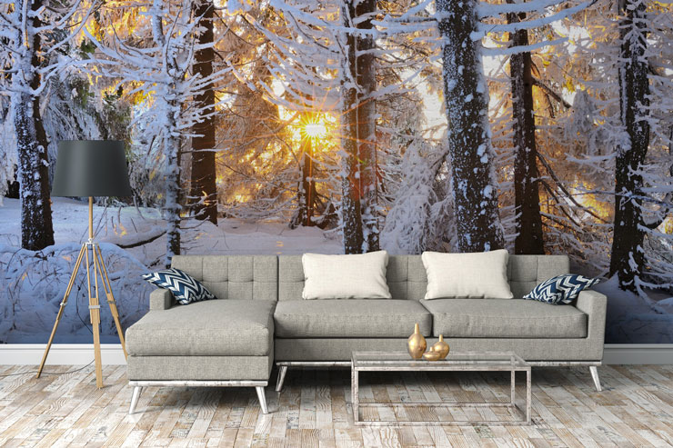 snowy forest in modern living room