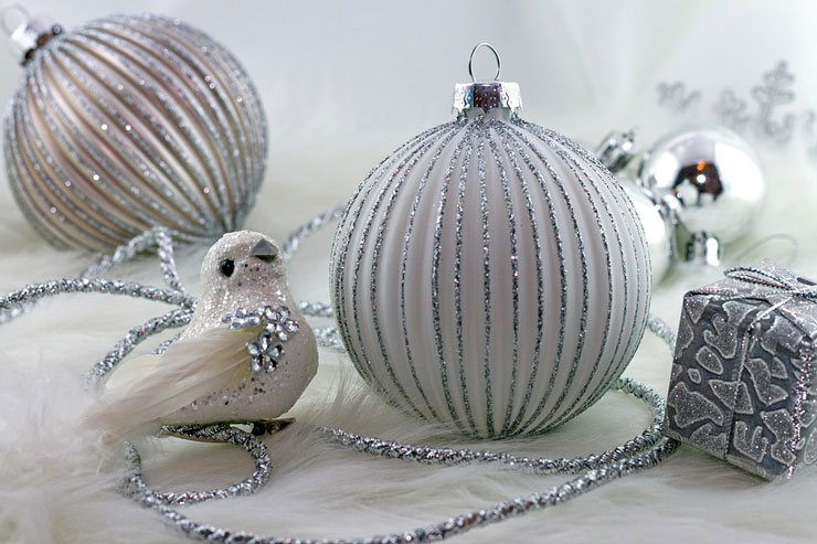 silver bauble and bird christmas decorations