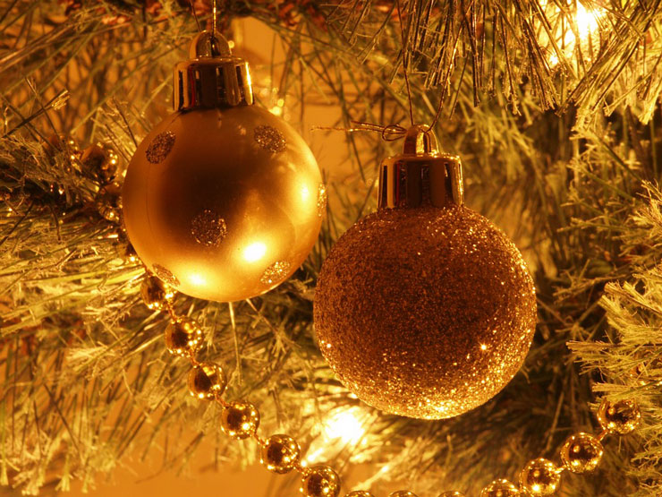 christmas glittery golden baubles on tree