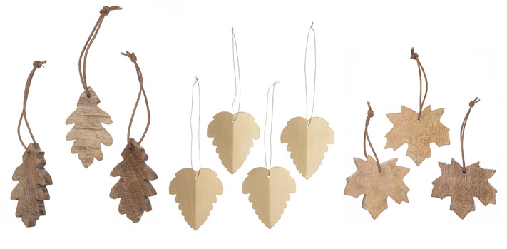 wooden leaf christmas tree ornaments