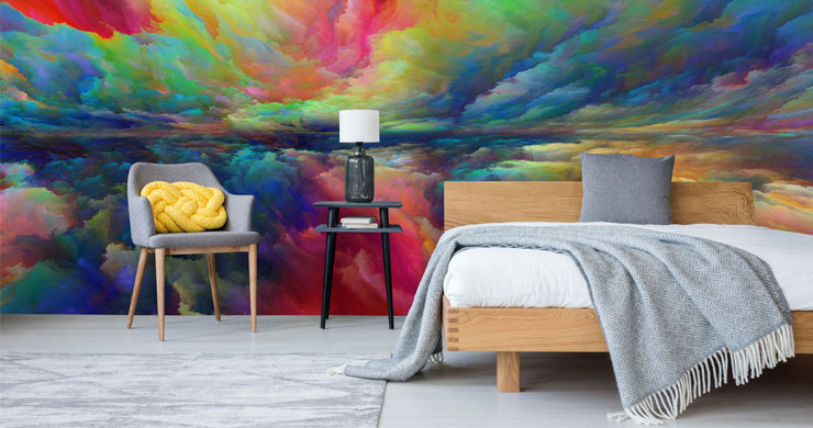 rainbow clouds abstract sky wallpaper in spare bedroom