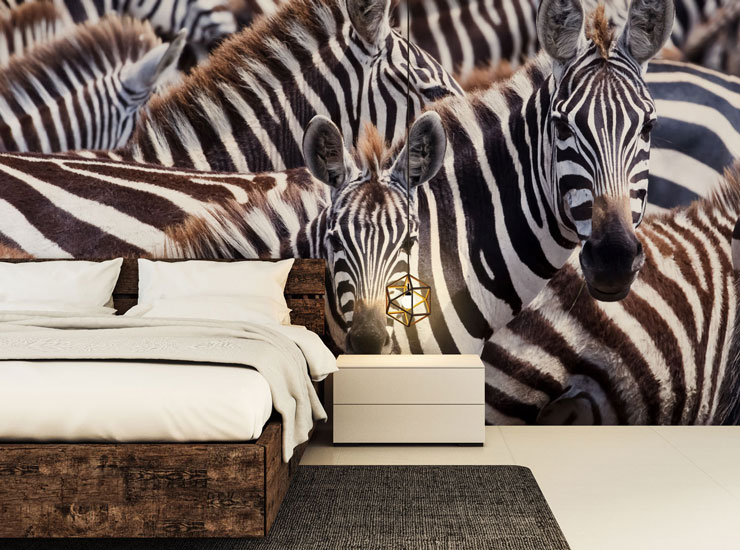 zebra group wallpaper in industrial bedroom