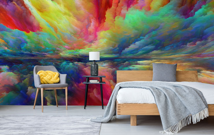 rainbow clouds wall mural in modern bedroom