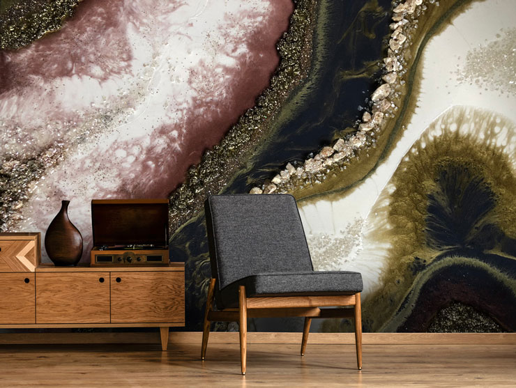 purple, black, white and gold-effect geode wall mural in trendy lounge