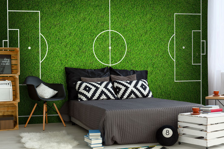 soccer pitch feature wall in teenager's bedroom