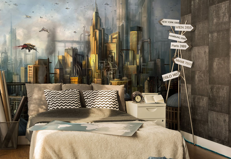 sci fi city wallpaper in teenagers bedroom