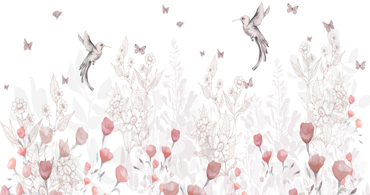 humming bird and pink flowers delicately illustrated wallpaper