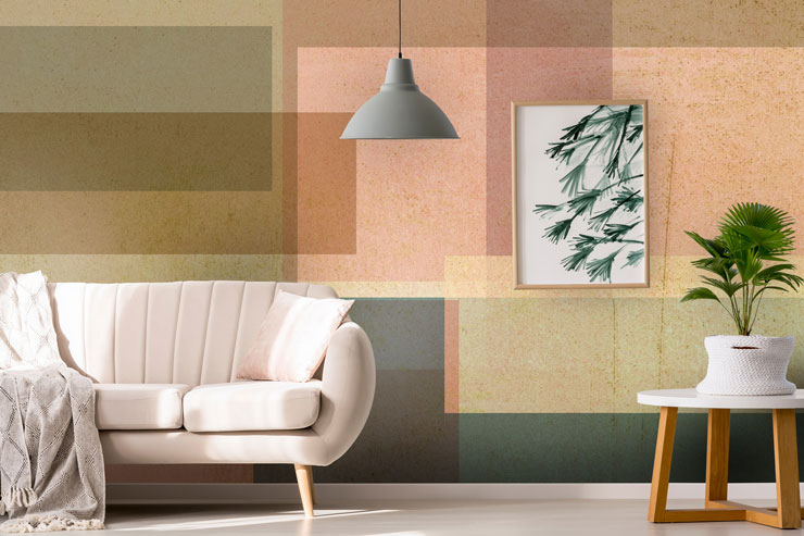 abstract pink, brown and grey wallpaper in modern living room