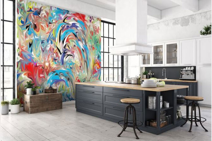 abstract and colourful feature wall in large, modern kitchen