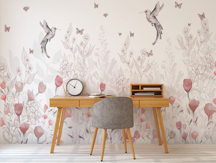 hummingbird and pink floral mural in modern home office