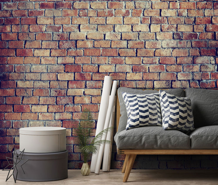 3D red brick wall in modern lounge
