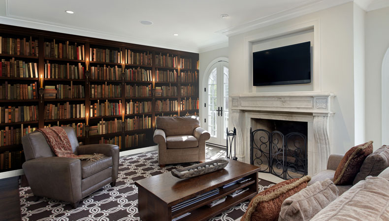 bookcase feature wall in manor house living room