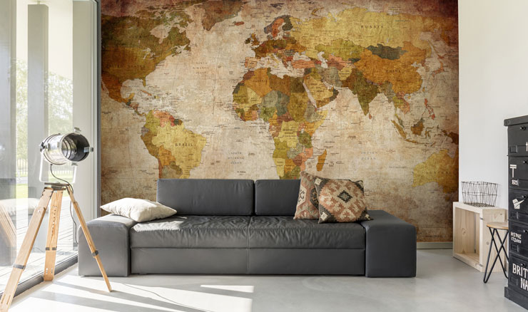 vintage map in large modern living room