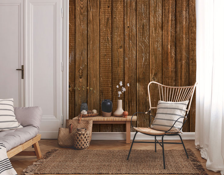 wood paneled wallpaper in scandi lounge