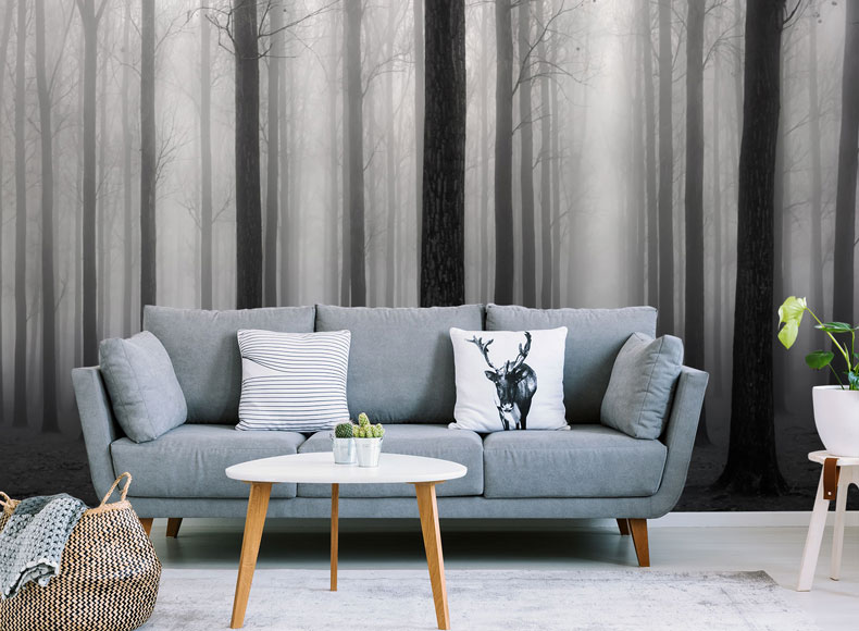 black and white forest wallpaper in modern lounge