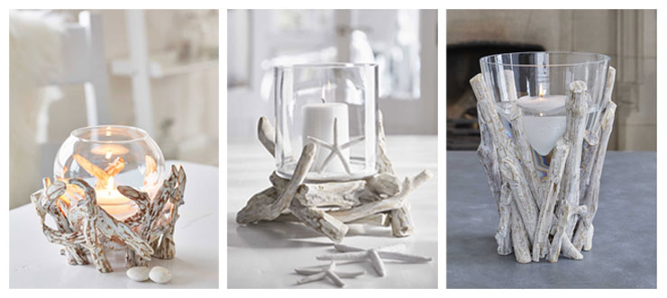 three driftwood candle holders from Nordic House
