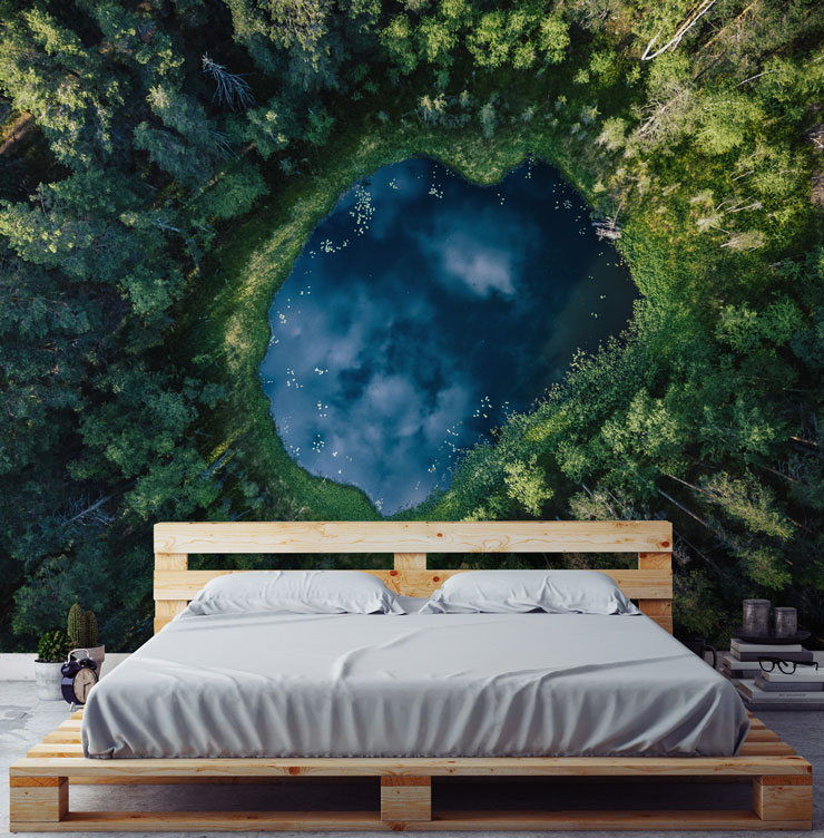 aerial view of forest pond in minimal master bedroom