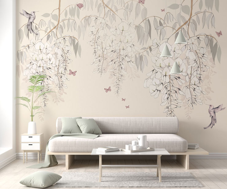 light pink and grey flower, butterfly and hummingbird wallpaper in calming lounge