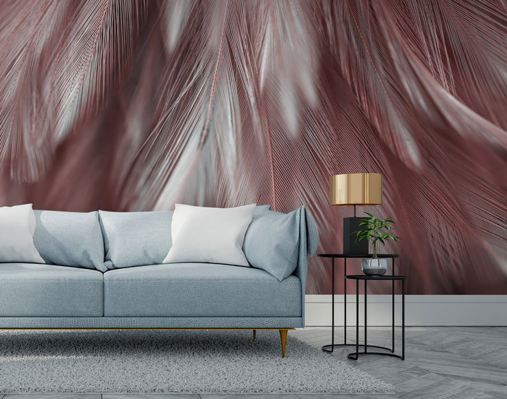 dusty pink and grey feather wallpaper in grey, on-trend lounge
