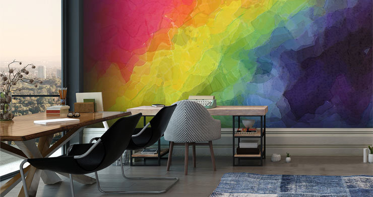 rainbow slanted abstract wallpaper in trendy office