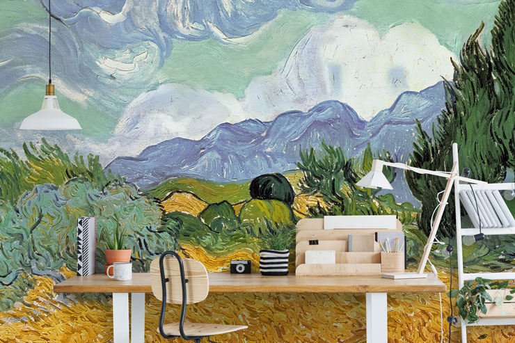 vincent van gogh field wallpaper in modern office