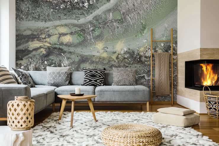teal and grey geode wallpaper in neutral and natural lounge