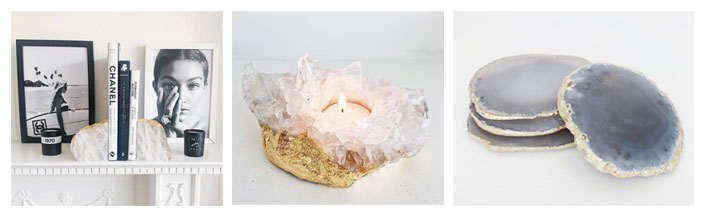 crystal and gold dust bookends, candle holder and coasters