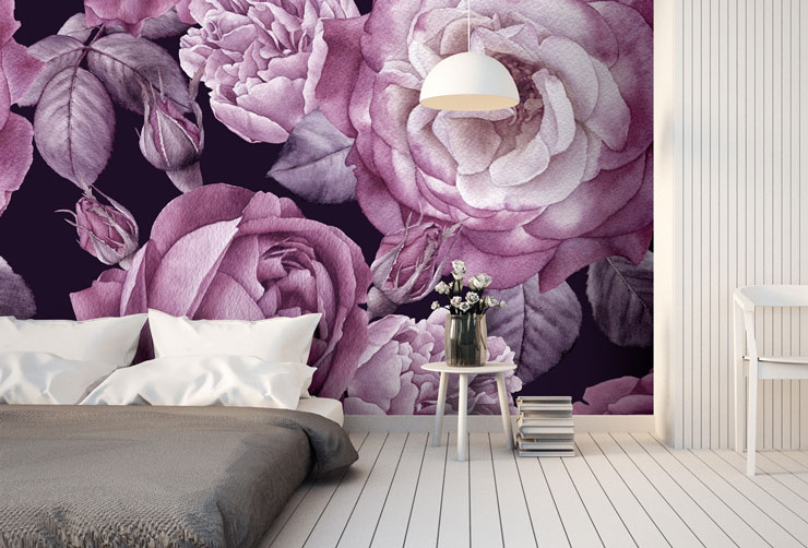 purple and white flower wallpaper in scandi bedroom
