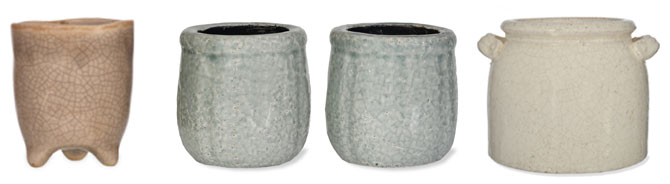terracotta, grey and white rustic plant pots