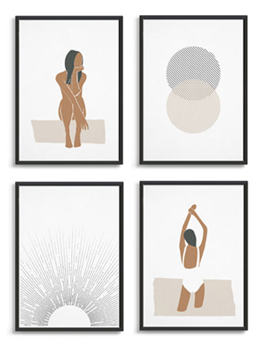 abstract women and black and white circles and sunrise art in frames