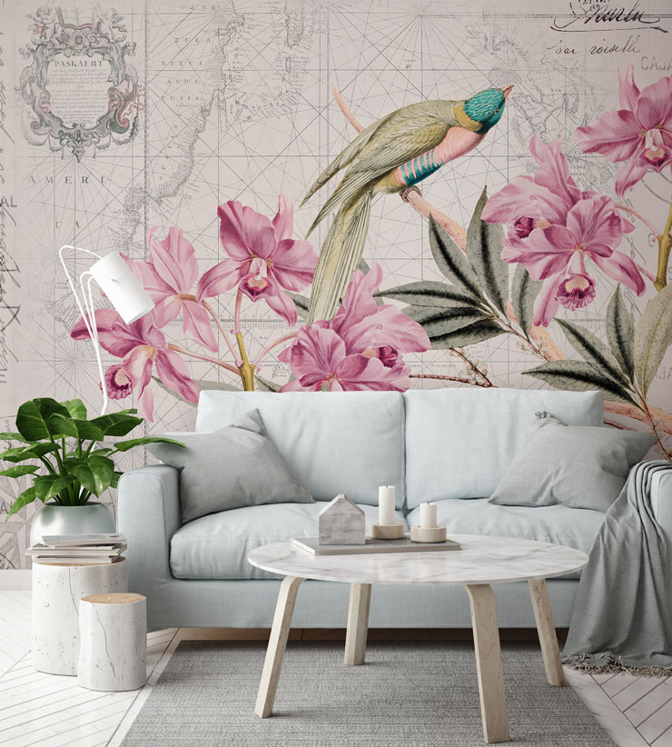 vintage map wallpaper with tropical bird and plants in stylish lounge