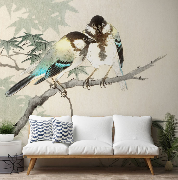 turquoise great tits on branch on white background in scandi living room