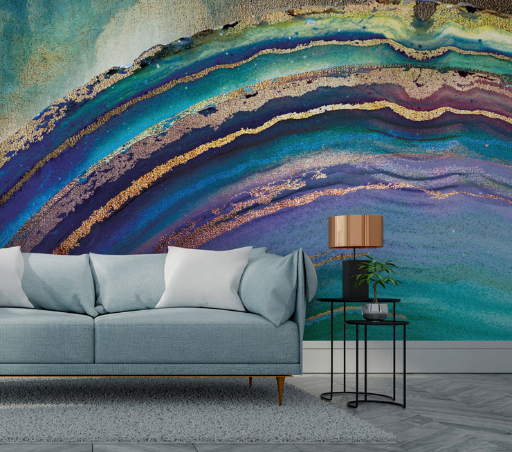 geode blue and purple wallpaper in modern lounge