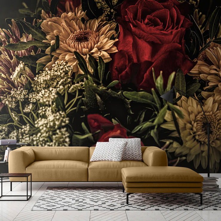sepia toned flower painting in lounge with mustard chair