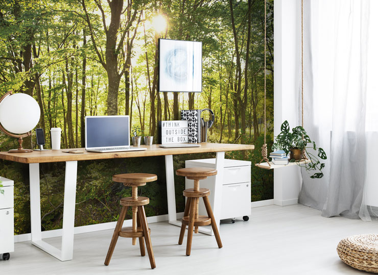 green forest wall mural in trendy home office