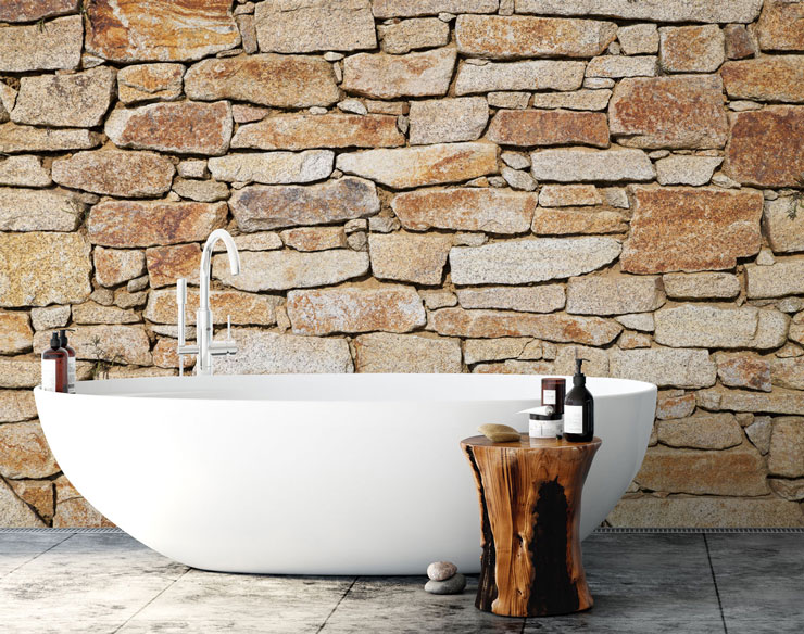 sandy stone wall wallpaper with stand alone bath tub
