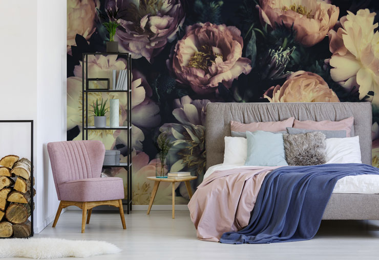 pastel purple and white rose dark floral wallpaper in pink and grey bedroom