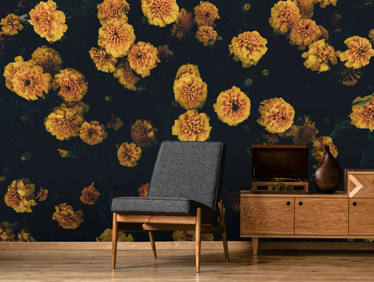 photography of dark yellow marigolds in minimalist lounge