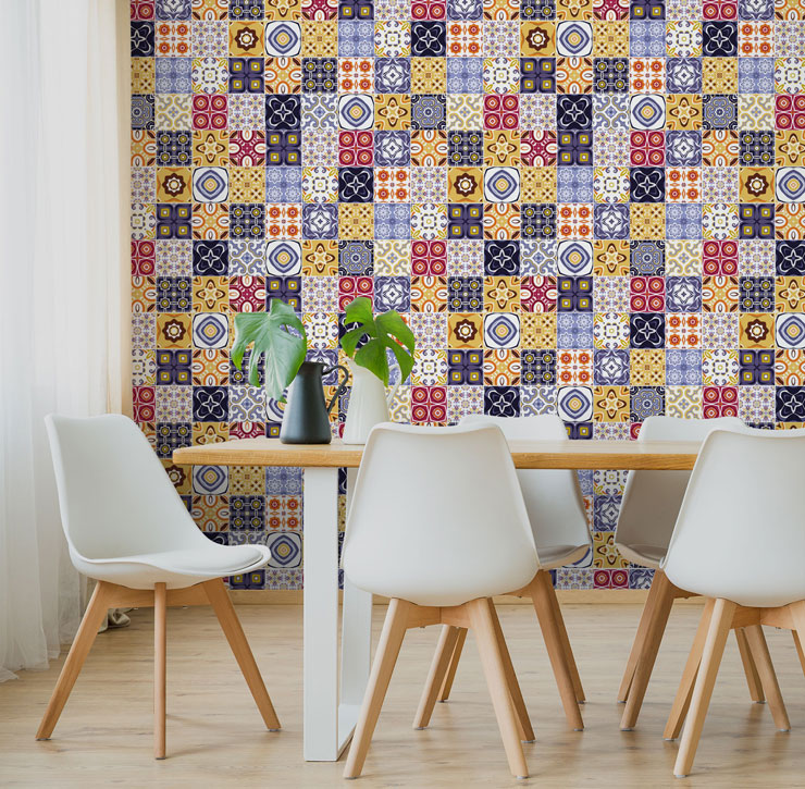 mustard and eclectic colour patterned tiles in minimalist dining room