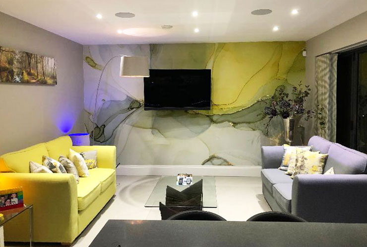 grey, white and mustard marble wallpaper in customer's living room