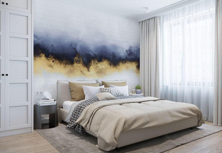 inky blue and gold effect wall mural in calm bedroom