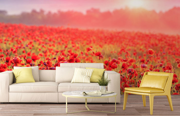 red poppy field feature wall in yellow themed living room