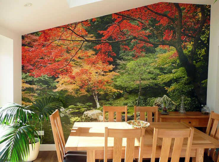 autumn trees in Japanese garden wall mural in wooden dining room