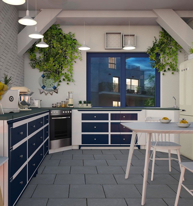 blue and white coloured modern kitchen with green hanging plants