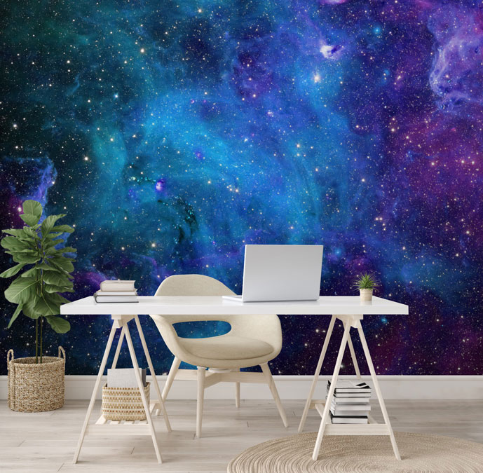 purple and blue galaxy wallpaper in white office
